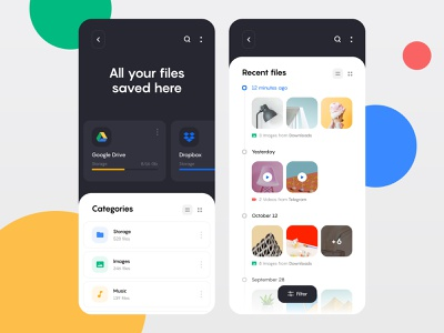 File manager app application photo ux ui storage product product design mobile management ios interface files file manager dashboard clean app