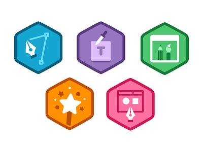 Illustrator Foundations Badges treehouse badges illustrator icons