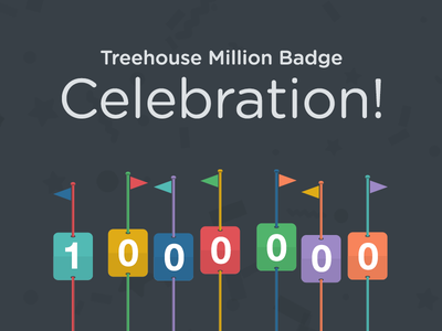 Treehouse Million Badge Celebration gotham rounded cloud typography flags flip click numbers helvetica neue 1 million 1000000 confetti responsive