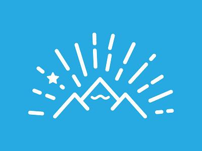 Mt. Moustache line mountain star light rays blue white moustache thick lines