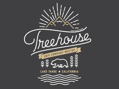 Treehouse Meetup Merch illustration mountains california bears script trees stars stuff fort foundry prohibition round