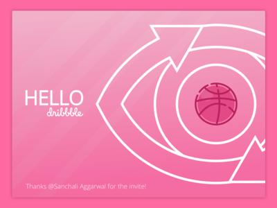 Hello Dribbble hello webdesign pink eye dribbble debut