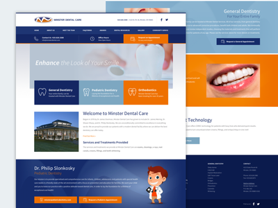Minster Dental Care orthodontics dentist orange blue responsive website teeth