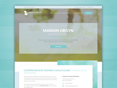 Marion OBGYN seo responsive women health care pastel blue baby obgyn website