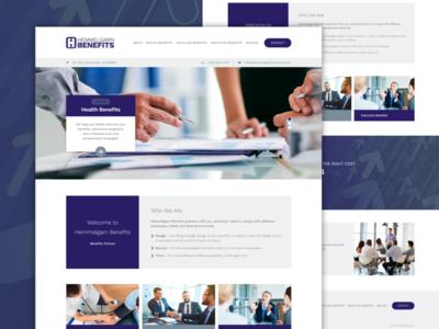 Hemmelgarn Benefits simple minimalistic purple blue graphic design development web design website