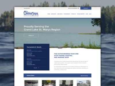 The Outdoorsman fishing boats blue nature lake outdoors website web development web design