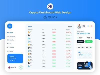 Crypto Dashboard Web Design (QUICK) binance coin litecoin ripple ethereum bitcoin dashboard crypto
