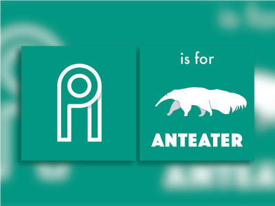 A is for Anteater vector white green flat design book anteater alphabet a