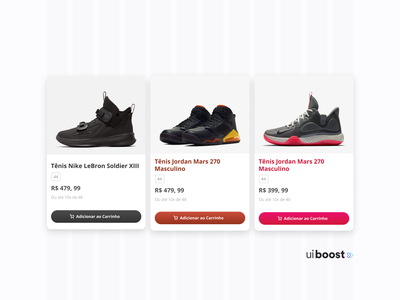 UiBoost sneakers e-commerce cards canadian canada brazilian brasil grid colors brand web design design web concept ux information architecture ui