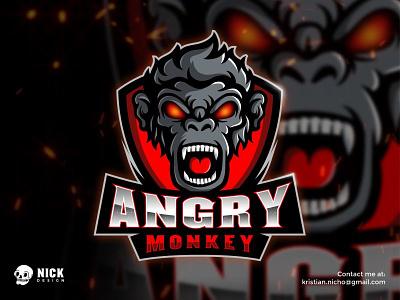 Angry Monkey kristian nicho graphic design vector illustration angry monkey esport logo logo sport gaming logo design characters branding mascot logo