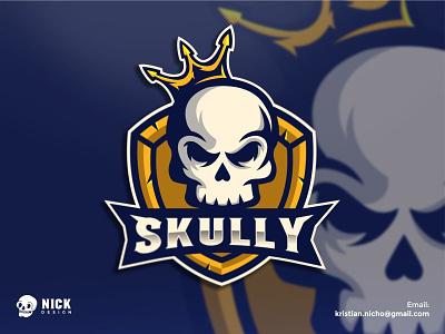 SKULLY kristian nicho skully crown branding brand mascot logos gaming esport sport design skull logo streamer gamers gaming logo esport logo sport logo logo design character design illustration mascot logo