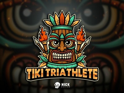 Tiki Triathlelete Logo hawaiian ethnic tropical tiki mask tiki sport branding esports sports twitch sport logo streamer character design gaming logo esport logo gaming design illustration mascot branding logo