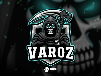 Grim Reaper Esport Logo (Varoz) reaper grim reaper skull skeleton sport branding brand esports sports twitch sport logo streamer character design gaming logo esport logo gaming design illustration mascot branding logo