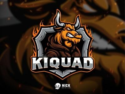 Kiquad Esport Logo esports mascot animals viking angry bull bull sport branding esports sports twitch sport logo streamer character design gaming logo esport logo gaming design illustration mascot branding logo