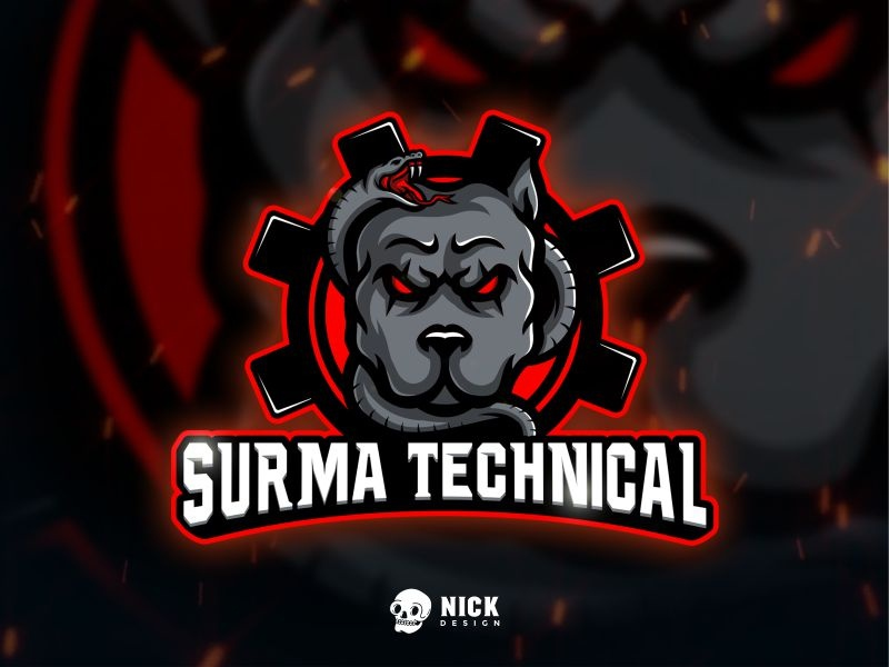 Surma Technical Logo logo inspiration awesome logo dark vector logo gamer snake angry dog pitbull sport design streamer logo twitch logo sport logo esports logo character design gaming logo branding illustration mascot design logo