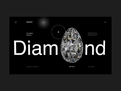 Debox – diamond template modern black diamond webapps animation website ui design creative