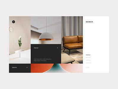 Debox – interior design web template agency interior interiordesign ui web branding modern website design creative