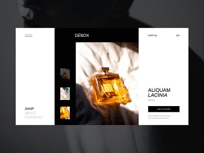 Debox – Product card for a perfume boutique aroma perfume ecommerce shop webdesign web website modern ui design creative