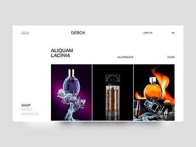 Debox – e-commerce catalog for a perfume boutique identity animation shop agency branding ui website modern design creative