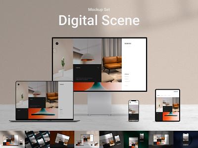 Digital Scene Mockup Set scene device mockup psd macbook mockup app screen xdr macbook iphone apple mockup identity agency branding web ui website modern design creative