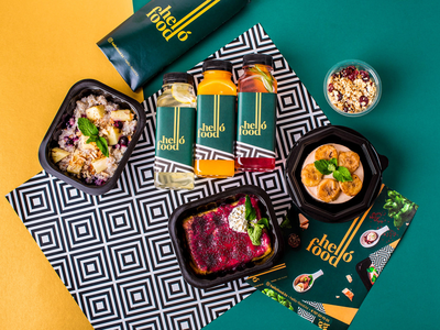 Branding for HelloFood smoothies detox food logo identity branding