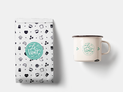LeVent identity coffee food vector logo illustration branding design
