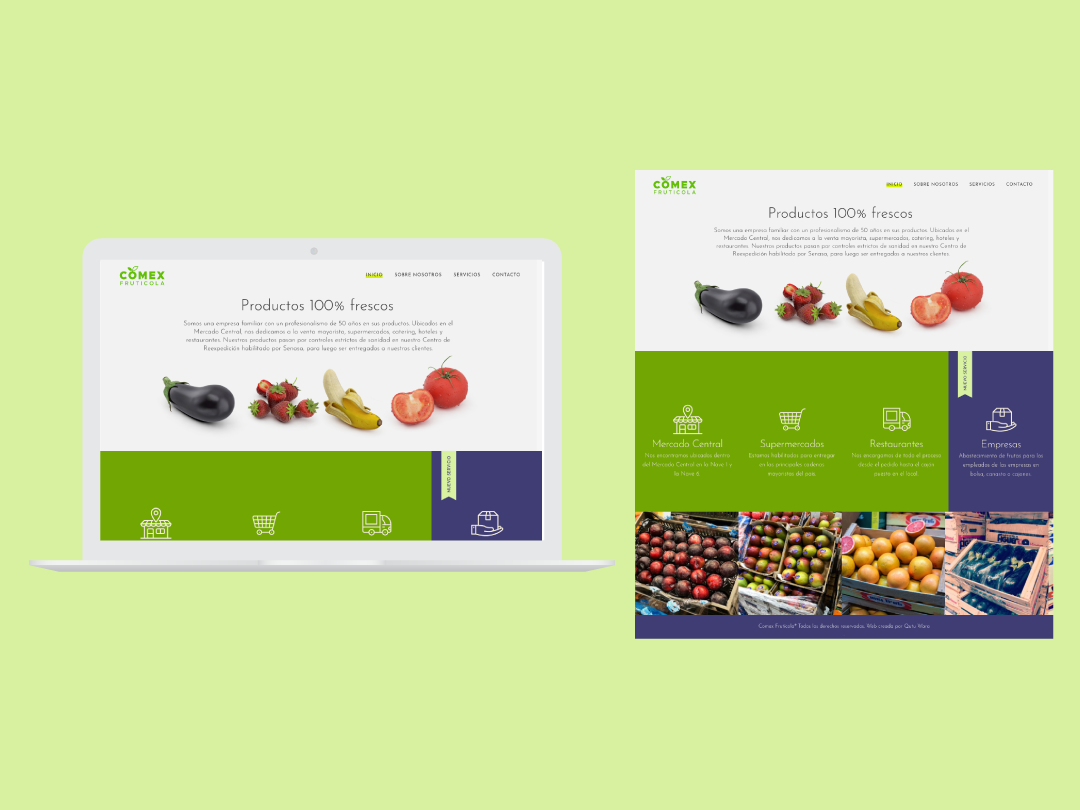 Web Comex simple design color fruits and vegetables online identity flat food design web