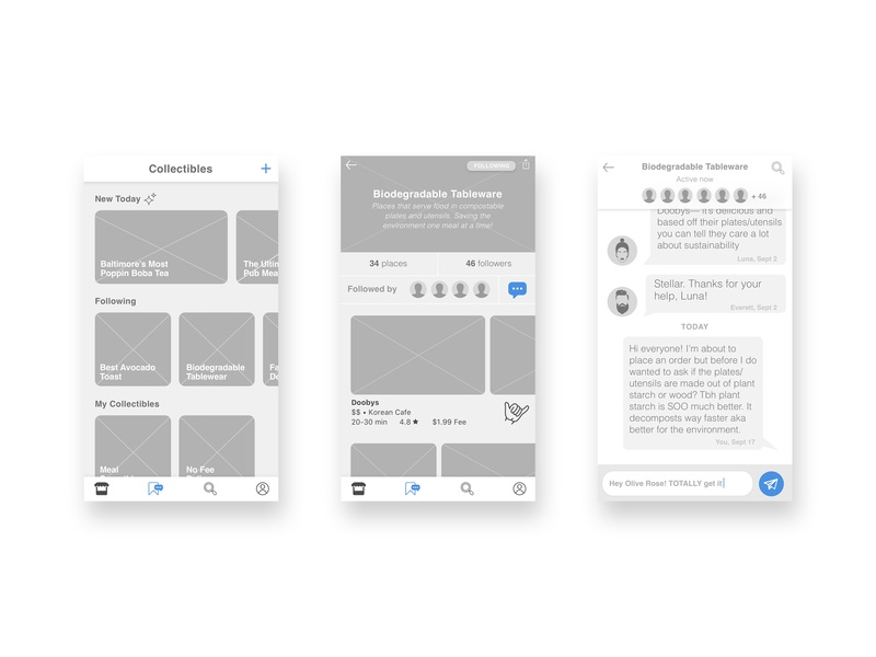 HipsterEats UX: Community Engagement Highlights sketch hipsters wireframes ui ux