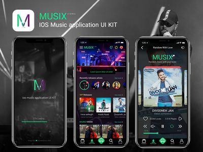 MUSIX | Professional IOS Music application UI KIT music player ui application user interface app design uikit userinteface ux ui app application musix music