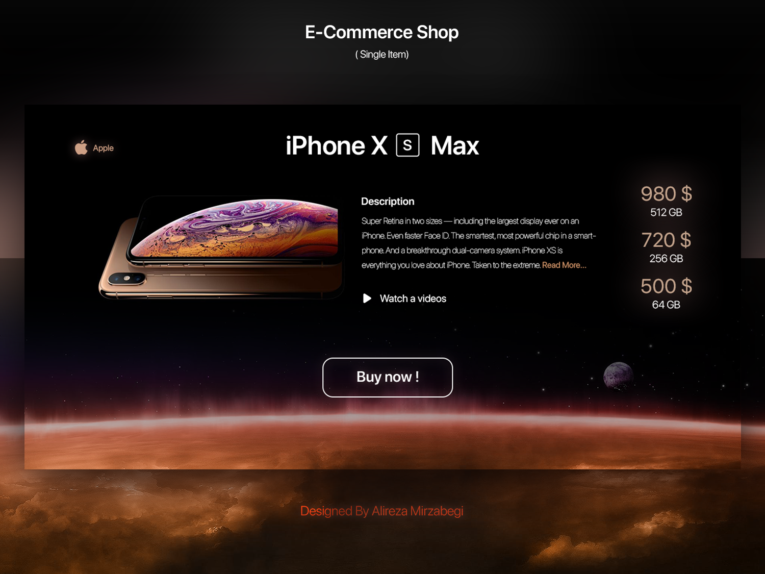 E Commerce Shop Daily Ui apple iphonexs iphonex iphone xs max iphone xs iphone x iphone day challenge dailyui daily e commerce e commerce shop e-commerce e-commerce-shop website web design ux ui