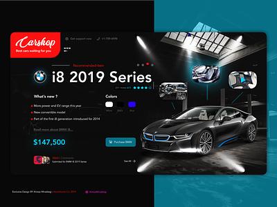 CarShop UI UX Design website web typography branding uiux daily ui dailyui exprience dribbble design adobe ux design ui design ux ui site bmw car landing car app cars car