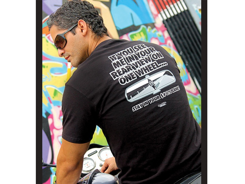 "T-Shirt Design ""Rear View"" apparel bold motorcycle sportsbike tshirt"