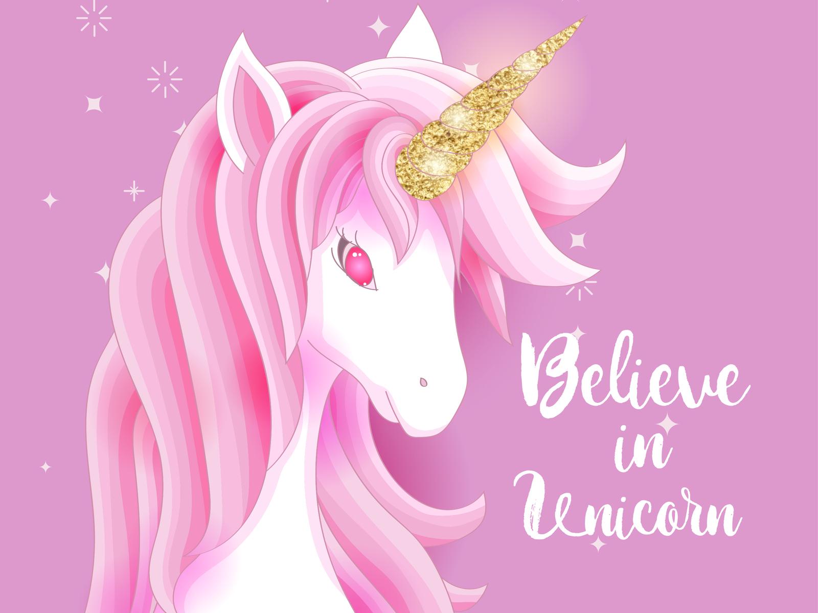 cute unicorn with gold glitter by volcebyyou Studio on ...