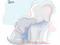 cute couple elephant illustration