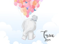 cute elephant couple in love flying with balloon