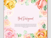 Watercolor background invitation with flowers