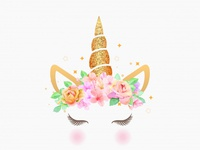 Cute Unicorn Graphic With Flower Wreath And Gold Glitter 21799 1