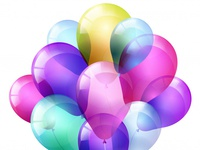 Realistic Bunch Of Flying Glossy Balloons And Multicolored