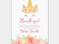 Thank you card with unicorn and pink floral