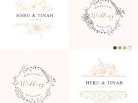 Wild leaves wedding invitation. Vintage floral design
