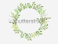 Green Leaves Branches Frame Design