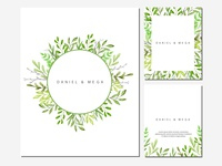 Green leaves and branches frame watercolor illustration