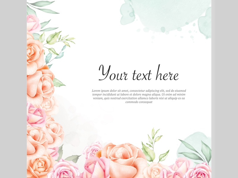 watercolor floral frame background by volcebyyou studio on