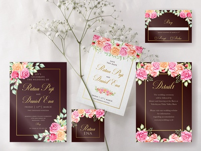 brown watercolor floral wedding card concept