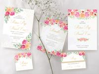 light watercolor floral wedding card concept