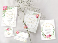 beautiful watercolor floral wedding card concept