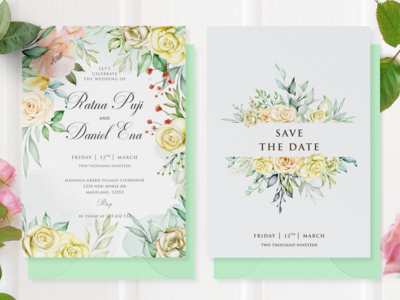 watercolor floral wedding card concept