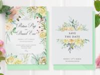 watercolor floral wedding card concept