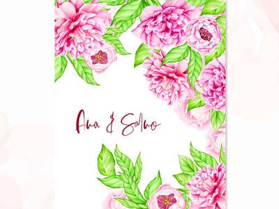 wedding invitation card with peony flowers