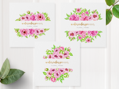 watercolor peony card frame set